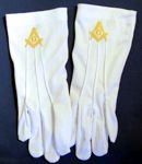 Masonic Dress Gloves with Gold Square Compass
